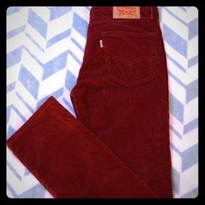 Levi's 514 red corduroy pants